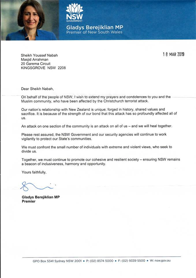 Photo of Letter of condolence from NSW Premier to the community and our centre